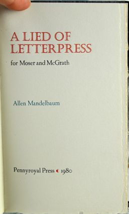 A Lied of Letterpress for Moser and McGrath.