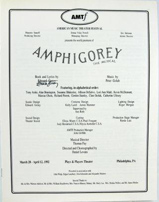 Program for Amphigorey the Musical. Edward Gorey
