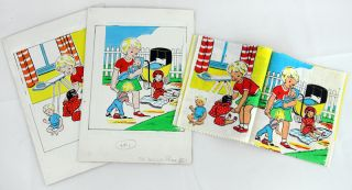 Set of three Dean & Co. rag books: My Train Set, Our Nursery, and My Dolls. Together with: original artwork for Our Nursery and My Dolls.