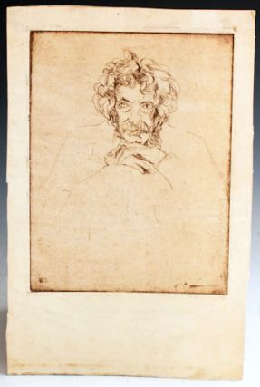 Etched portrait of Samuel Clemens.